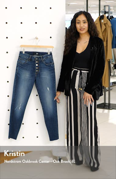 Donna Button Fly Ankle Skinny Jeans, sales video thumbnail