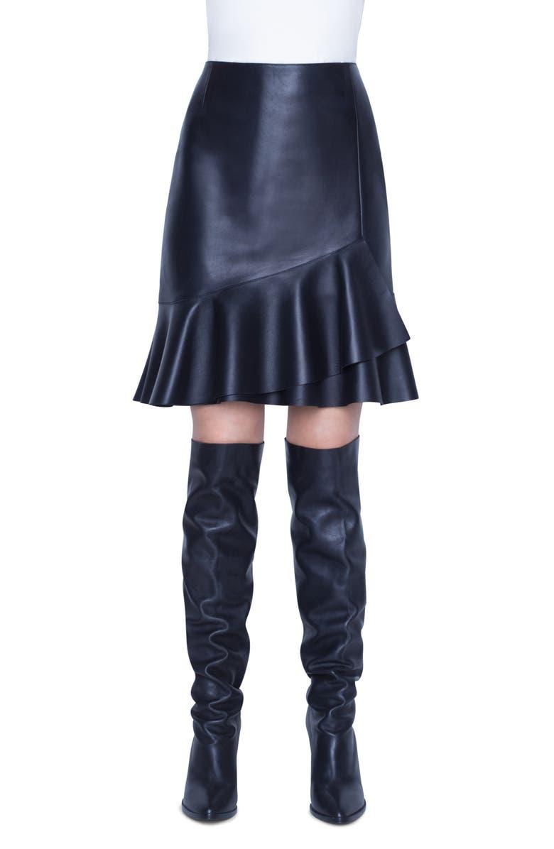 AKRIS PUNTO Leather Volant Skirt, Main, color, BLACK