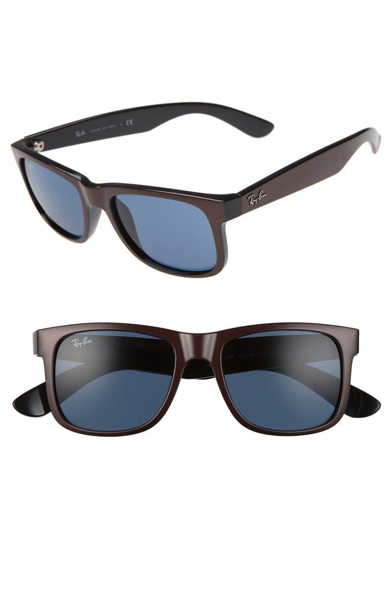 RAY-BAN Justin 51mm Flat Top Sunglasses, Main, color, BROWN/ DARK BLUE SOLID
