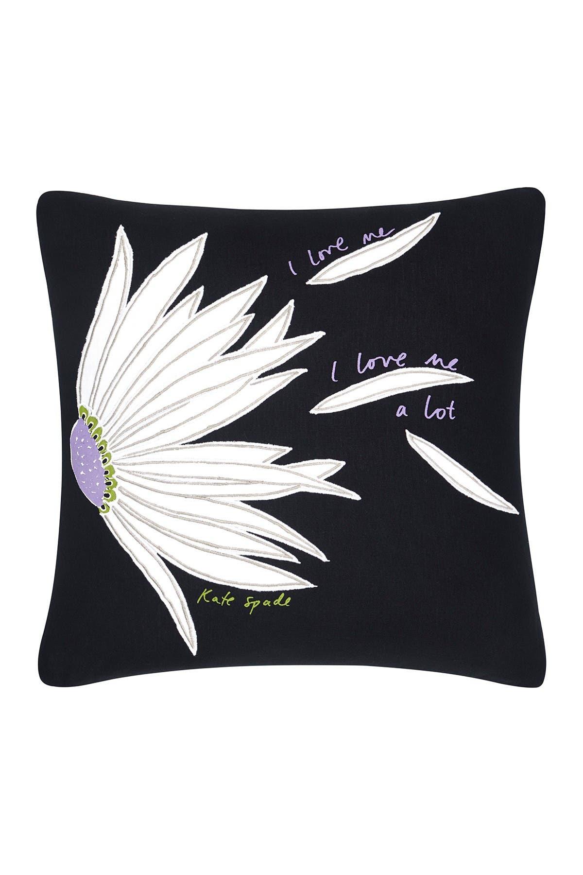 "Image of kate spade new york falling flowers decorative pillow 18""x18"" - black"
