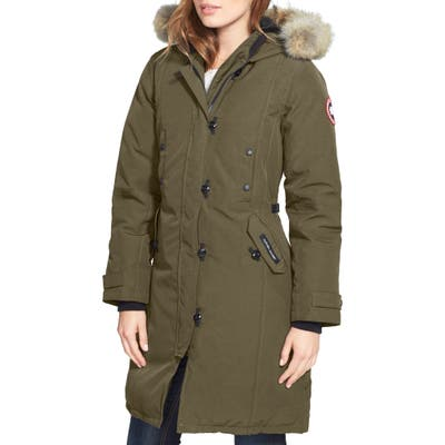 Canada Goose Kensington Slim Fit Down Parka With Genuine Coyote Fur Trim, (14-16) - Green