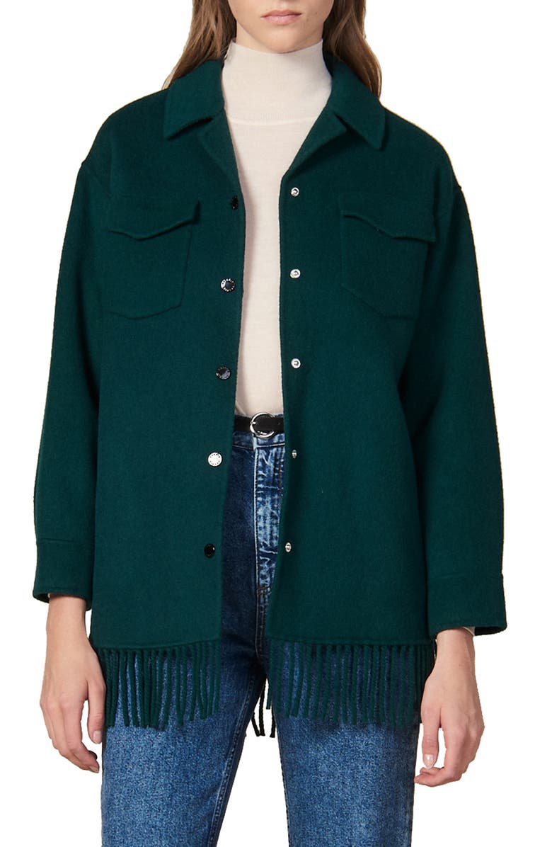 SANDRO Fringe Detail Wool Blend Jacket, Main, color, GREEN