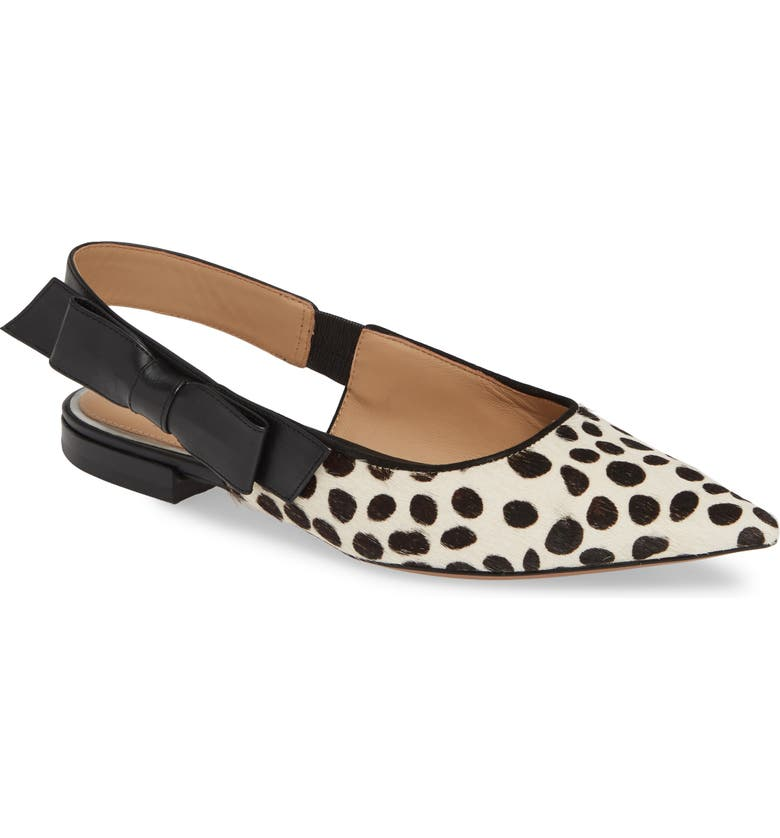 LINEA PAOLO Darcy II Genuine Calf Hair Slingback Flat, Main, color, WHITE/ BLACK FRECKLE CALF HAIR