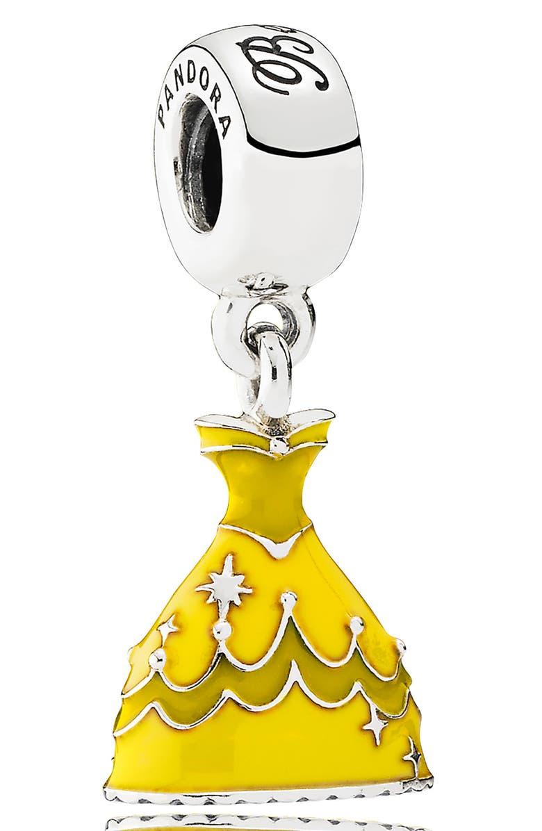 PANDORA Disney Belle's Dress Dangle Charm, Main, color, SILVER