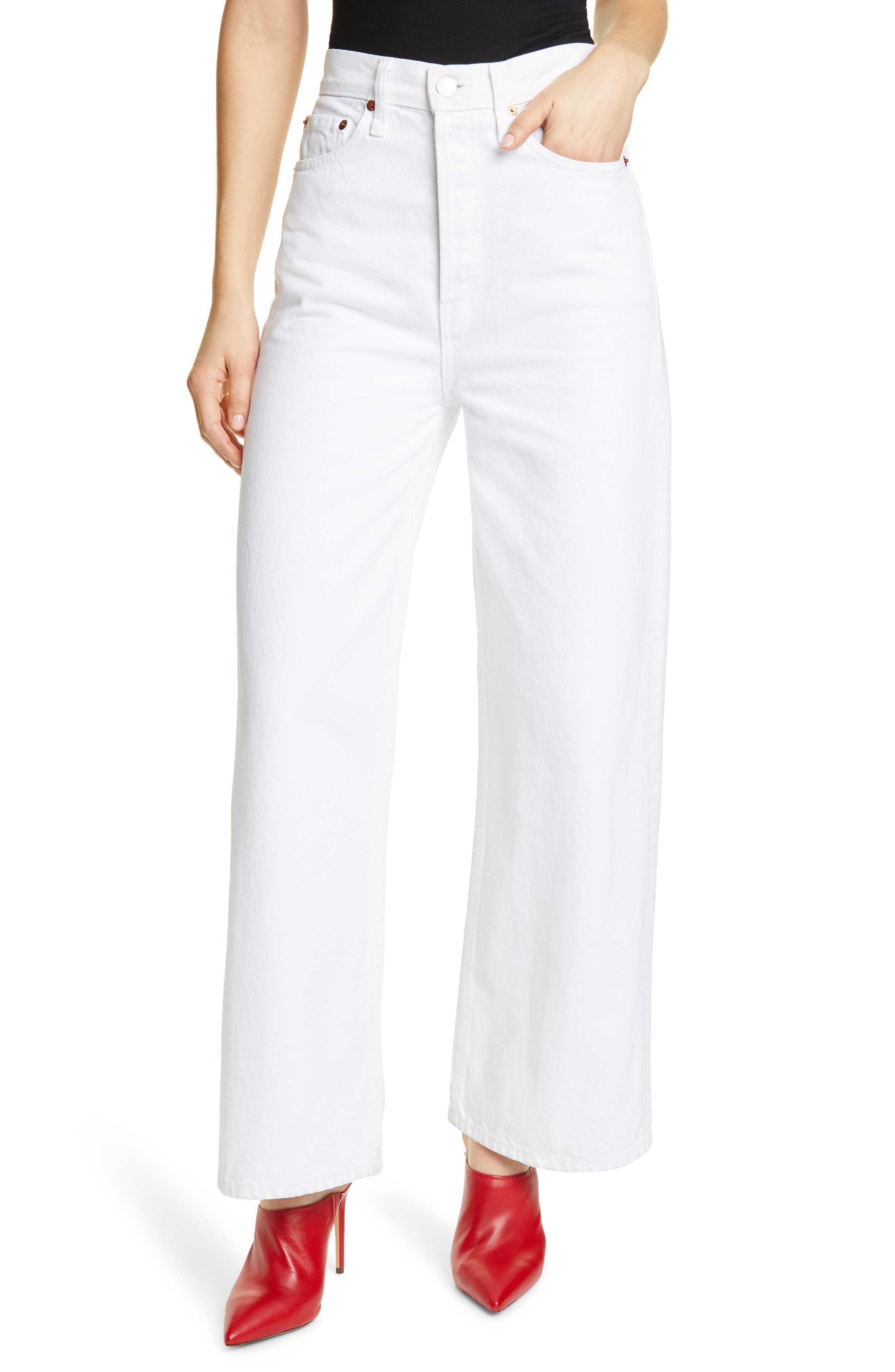 1960s Pants – Top 10 Styles for Women ReDone 60s Extreme Wide Leg Pants Size 27 - White at Nordstrom Rack $119.97 AT vintagedancer.com
