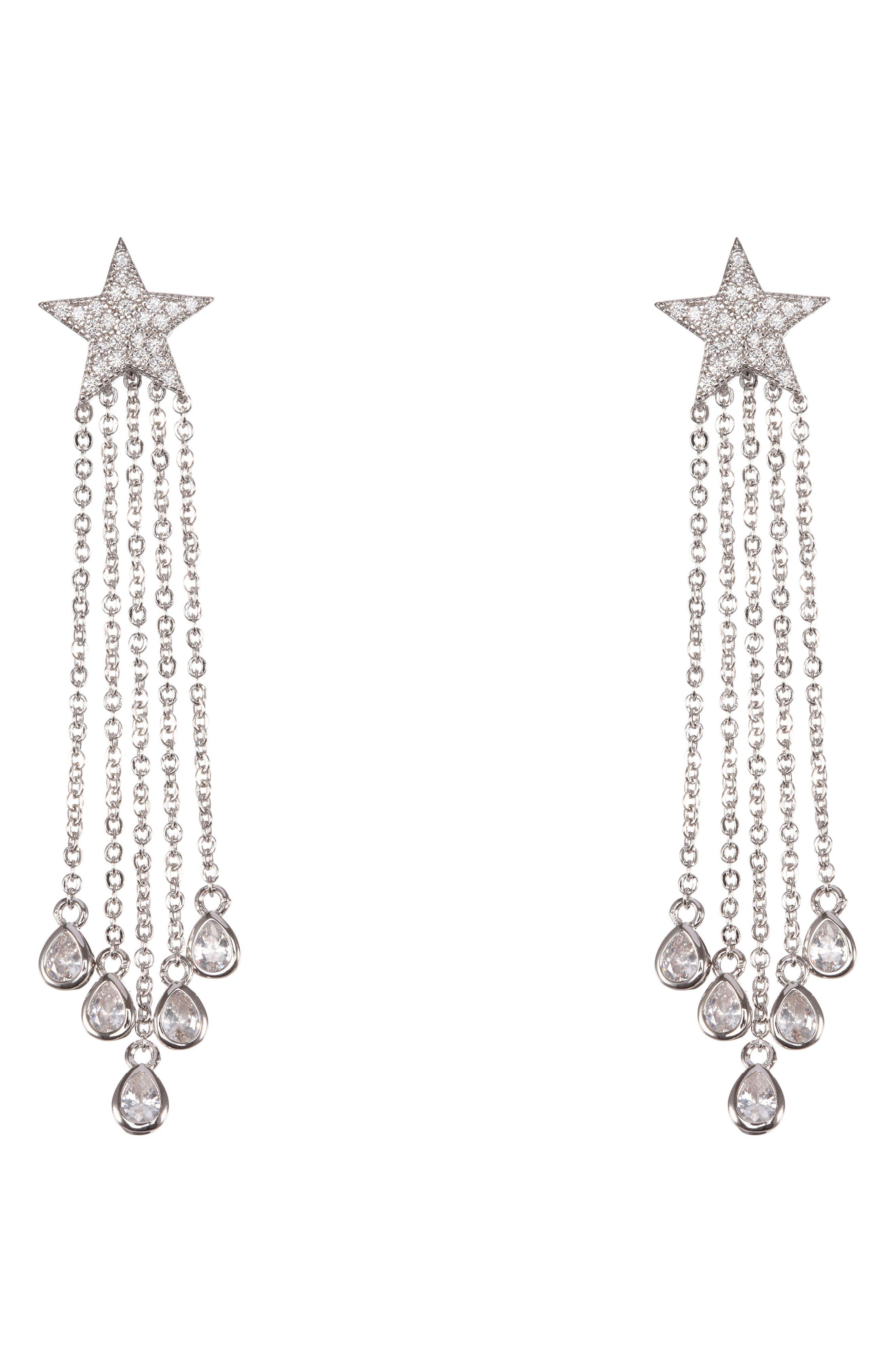 Star Fringe Earrings, Main, color, CRYSTAL/ SILVER