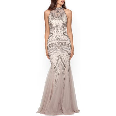 Xscape Embellished Godet Mermaid Gown, Beige
