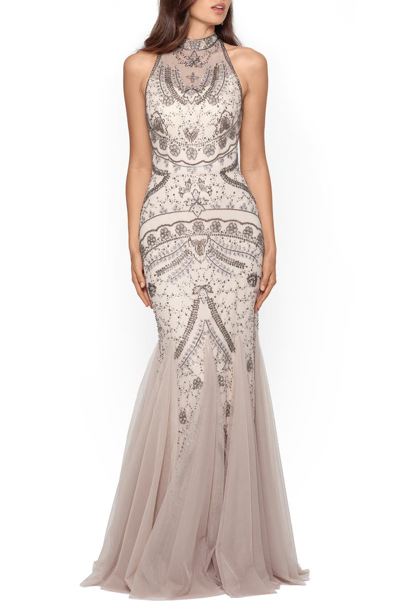 XSCAPE Embellished Godet Mermaid Gown, Main, color, CHAMPAGNE