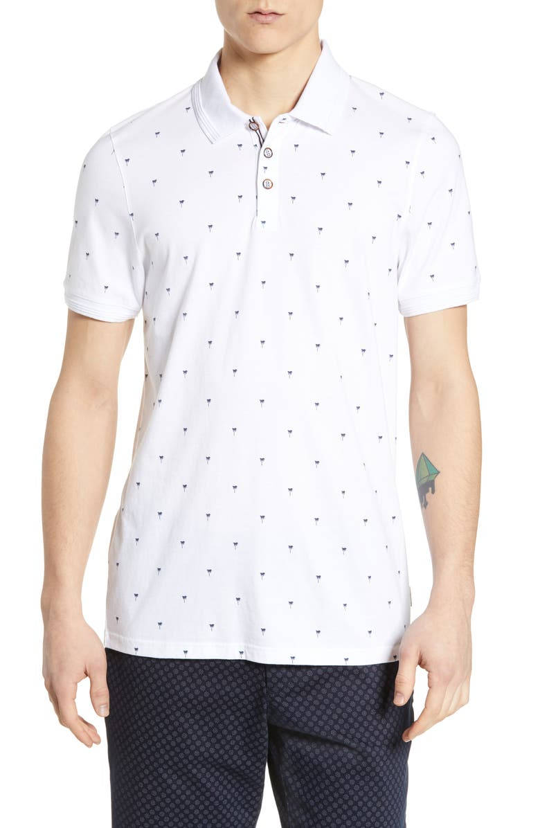 TED BAKER LONDON Tuka Slim Fit Palm Print Polo, Main, color, WHITE