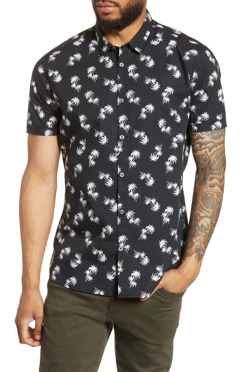JOHN VARVATOS STAR USA Jasper Regular Fit Palm Print Short Sleeve Button-Up Shirt, Main, color, 006