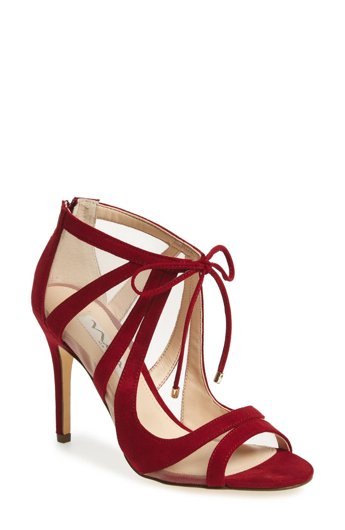 ,                             Cherie Illusion Sandal,                             Main thumbnail 1, color,                             CRANBERRY SUEDE