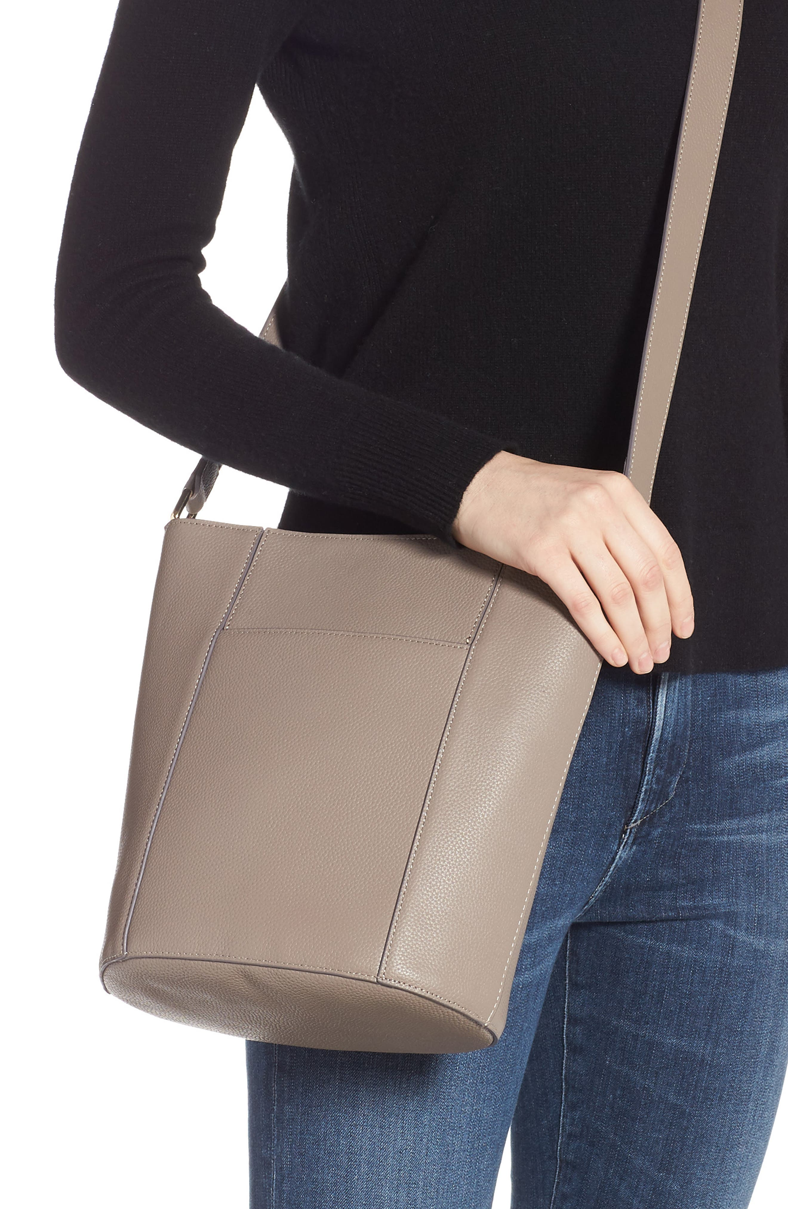 ,                             Loraine Leather Bucket Bag,                             Alternate thumbnail 2, color,                             GREY TAUPE