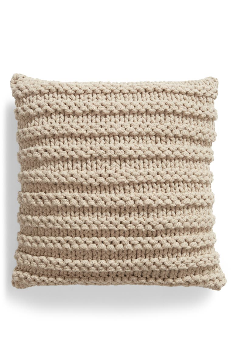 TREASURE & BOND Chunky Knit Accent Pillow, Main, color, GREY OWL