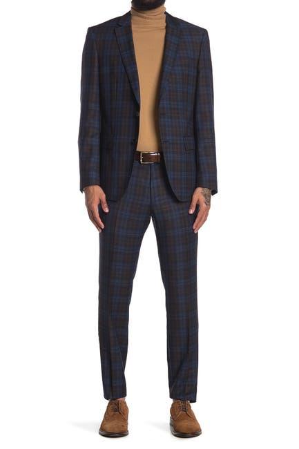 Image of BOSS Huge Genius Dark Blue Plaid Two Button Notch Lapel Suit