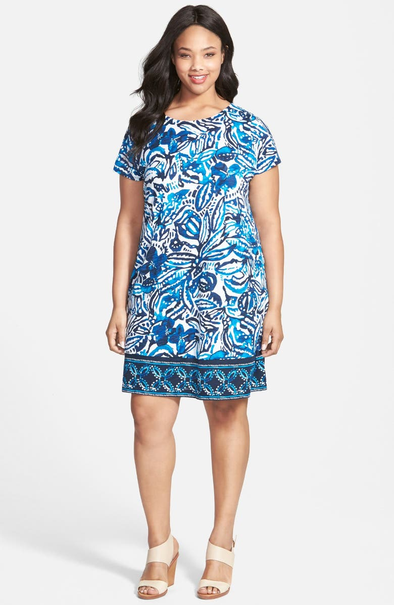 \'Batik Garden\' Print Jersey Shift Dress