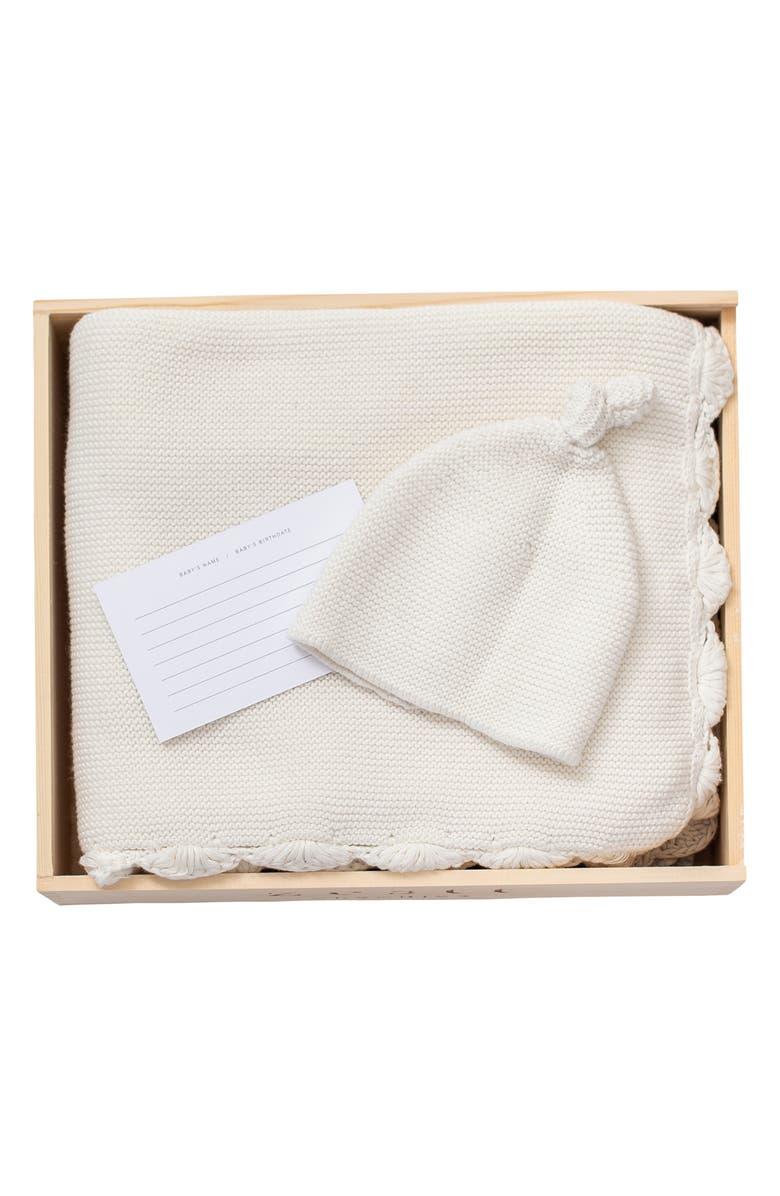ZESTT Heirloom Organic Cotton Baby Blanket & Hat Gift Set, Main, color, 100