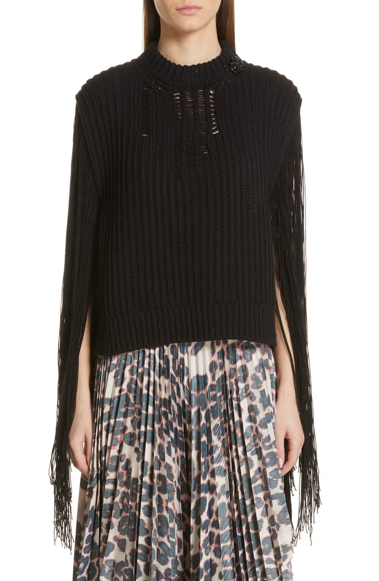 CALVIN KLEIN 205W39NYC Fringe Sleeve Sweater, Main, color, 001