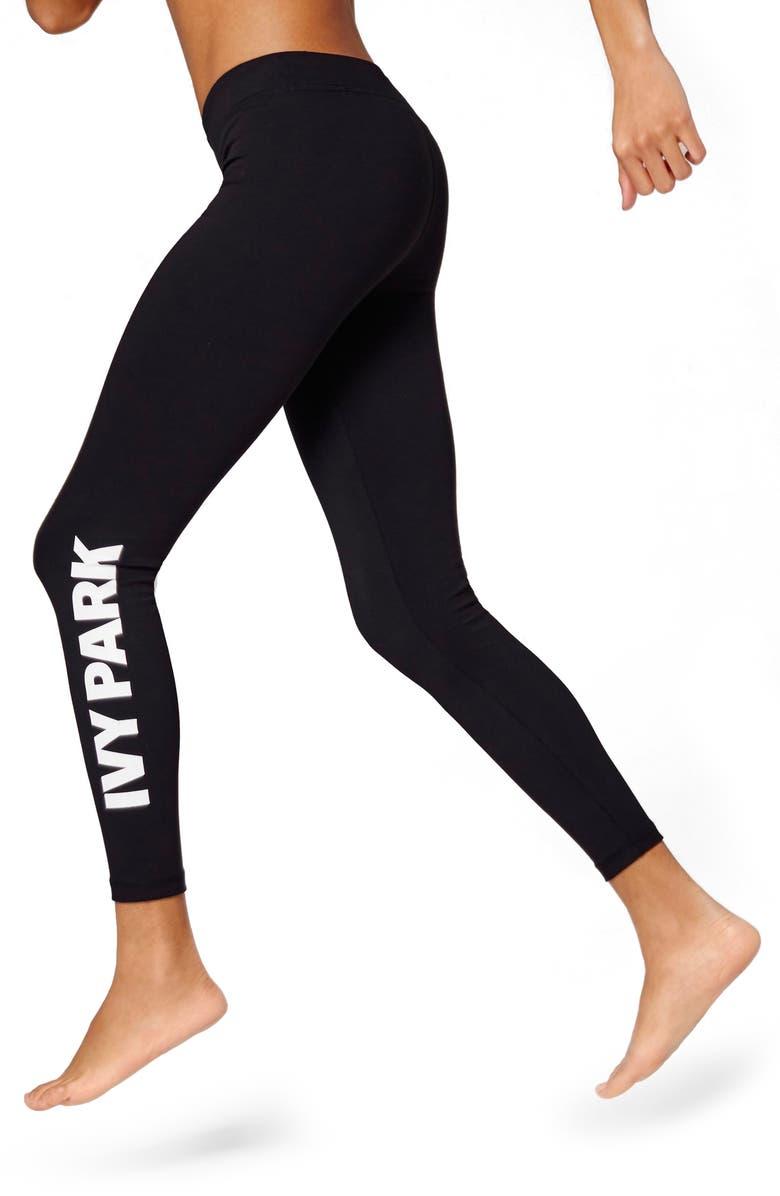 IVY PARK<SUP>®</SUP> Logo Mid Rise Ankle Leggings, Main, color, 001