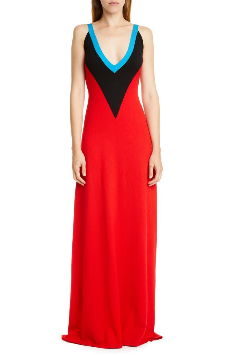 VICTOR GLEMAUD Intarsia Merino Wool Sweater Dress, Main, color, RED AND BLACK COMBO