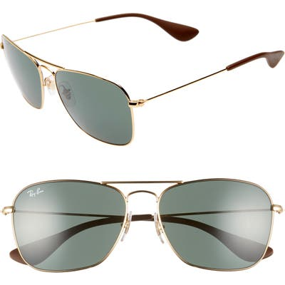 Ray-Ban 5m Polarized Navigator Sunglasses - Gold