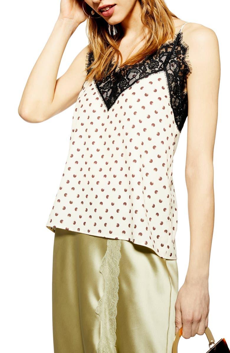 TOPSHOP Spot Lace Camisole Top, Main, color, 250