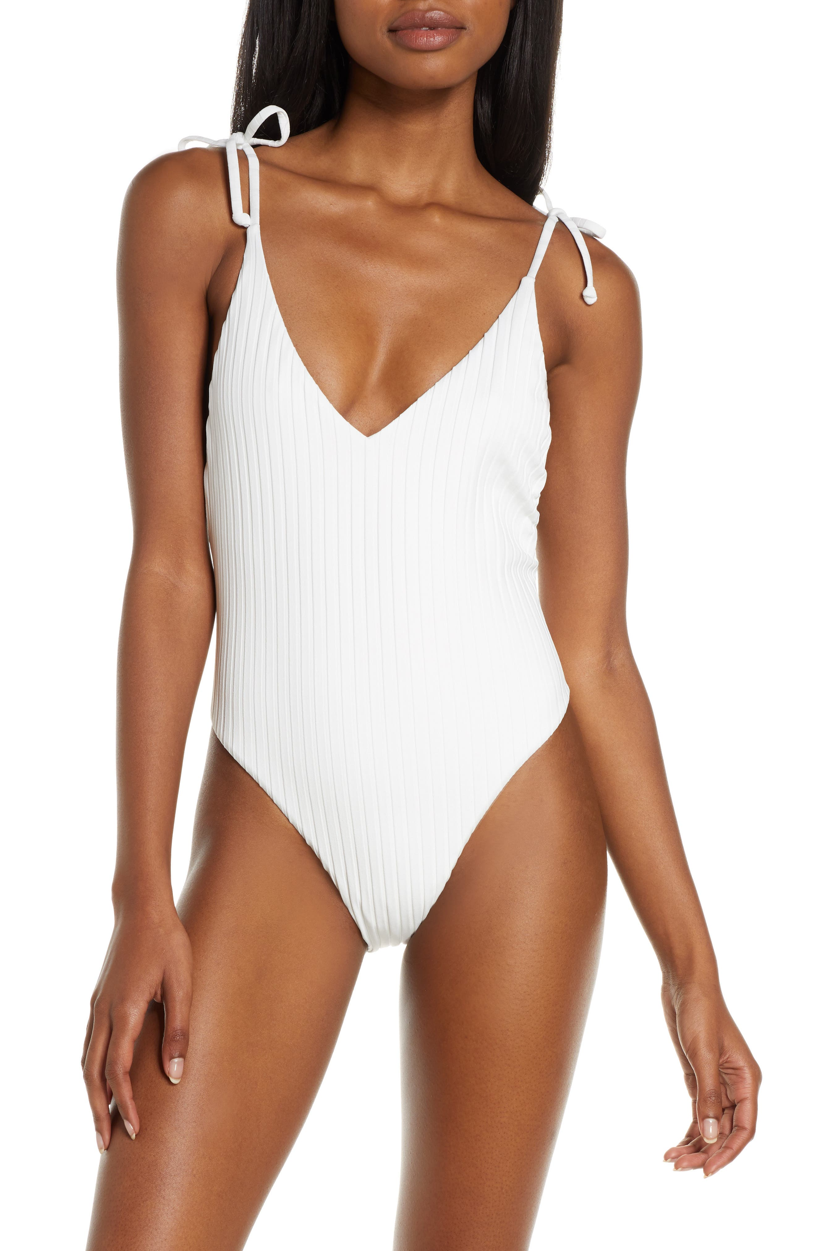 ,                             Sunny Rib One-Piece Swimsuit,                             Main thumbnail 1, color,                             WHITE