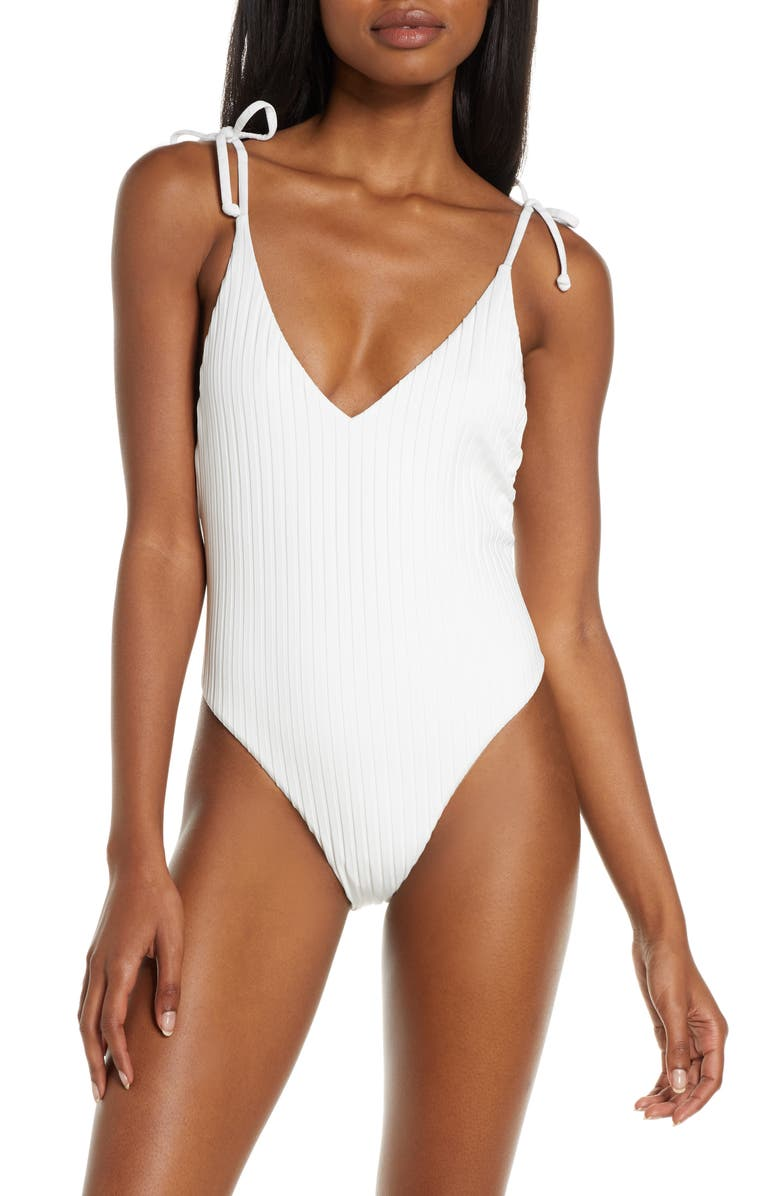 BILLABONG Sunny Rib One-Piece Swimsuit, Main, color, WHITE