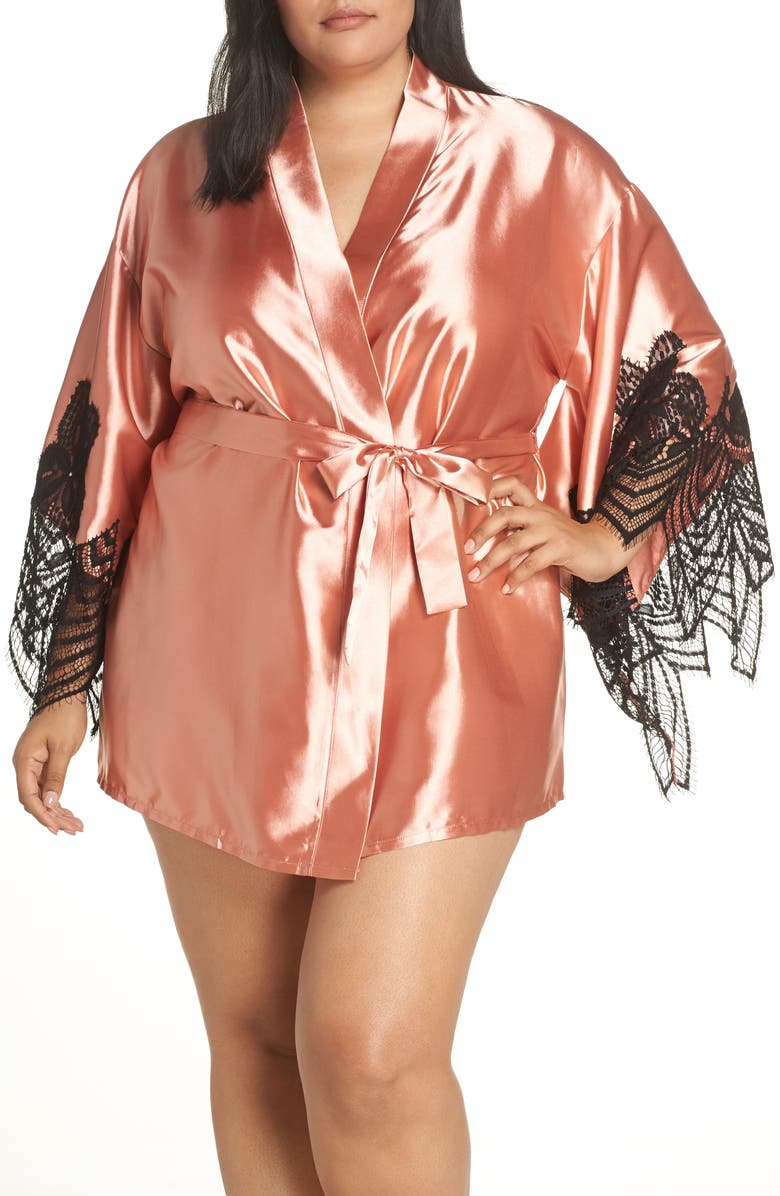 OH LA LA CHERI Satin Robe, Main, color, 001