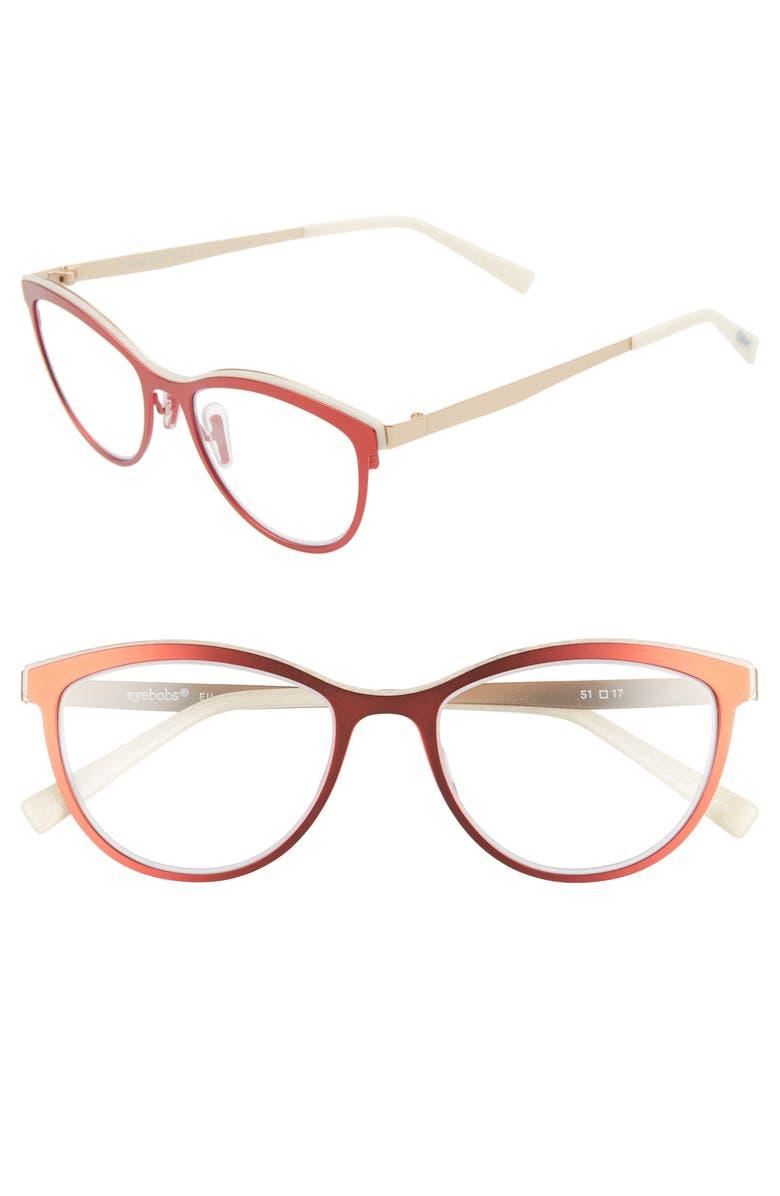 EYEBOBS Elle E. Katt 51mm Reading Glasses, Main, color, RED/ GOLD