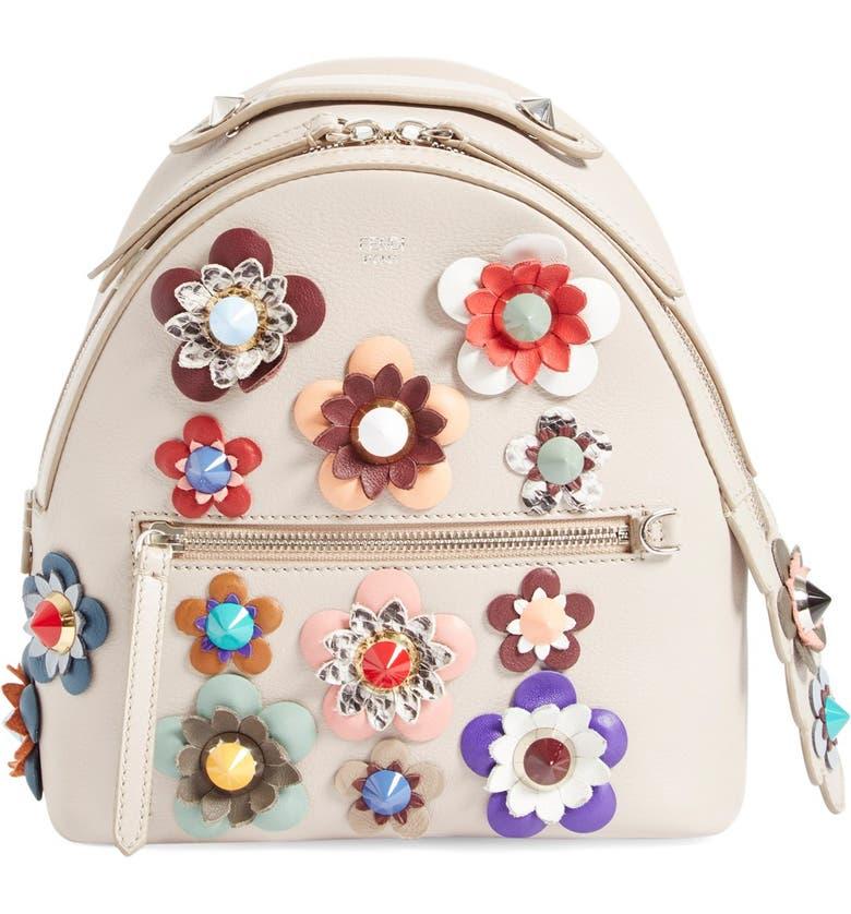 FENDI Floral Appliqué Leather Mini Backpack, Main, color, 069
