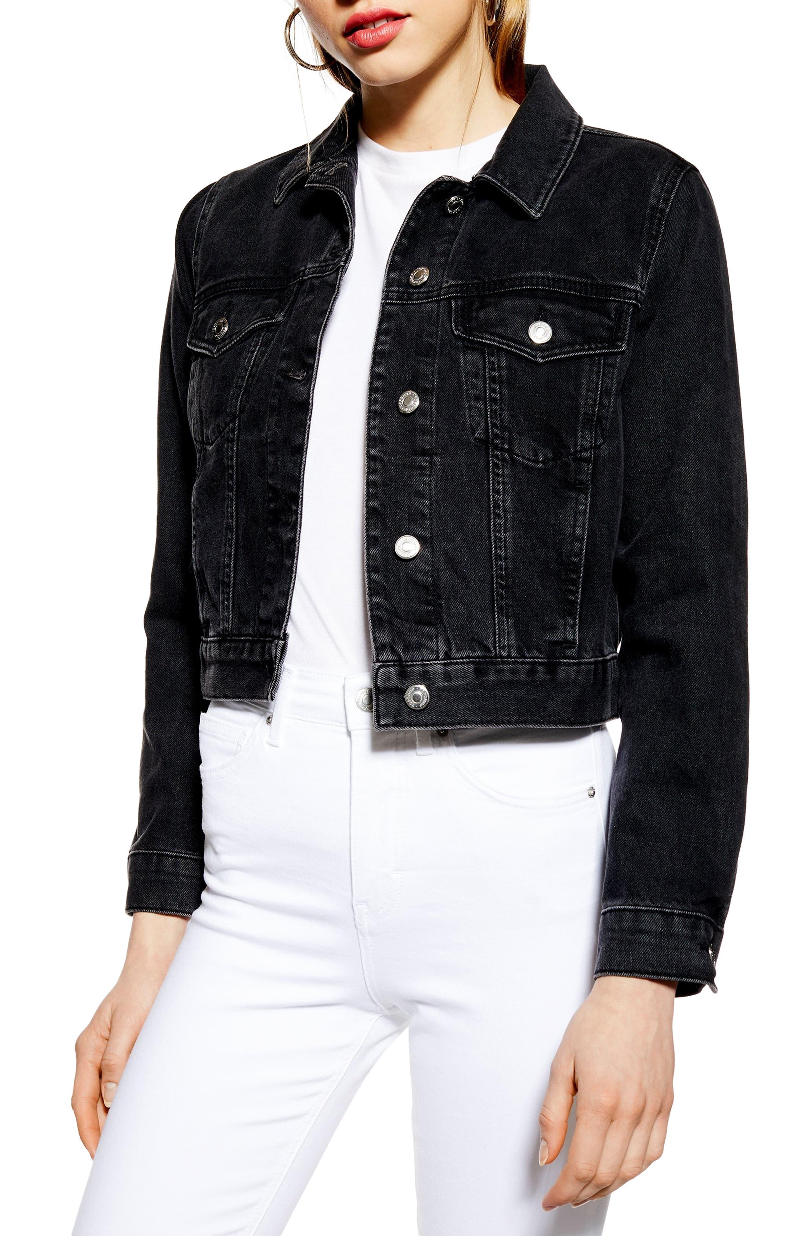 Fitted Denim Jacket, Main, color, WASHED BLACK