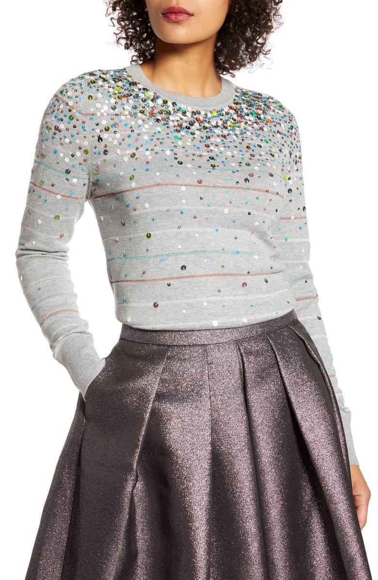 HALOGEN<SUP>®</SUP> x Atlantic-Pacific Confetti Metallic Stripe Sweater, Main, color, GREY HTR MULTI SEQUIN STRIPE