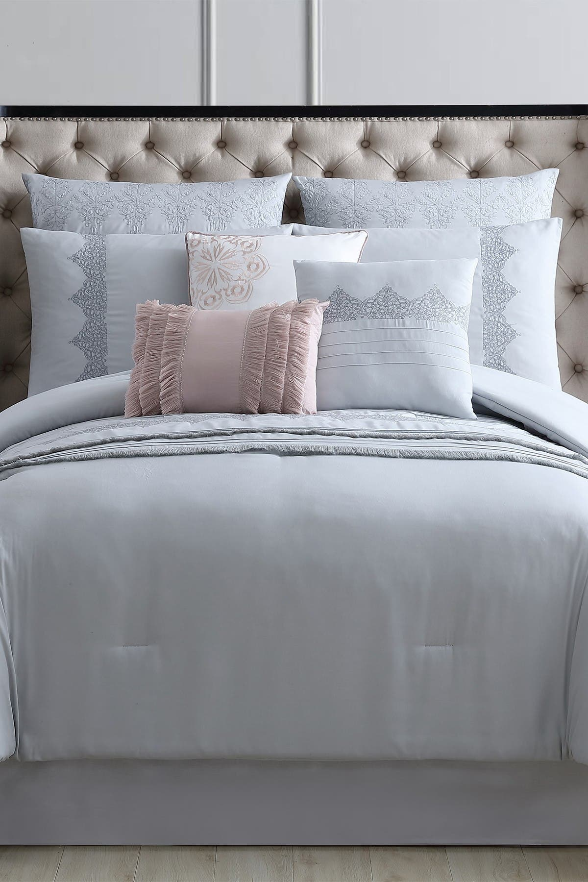 Image of Modern Threads Queen Rivera Embroidered Comforter Set - Grey