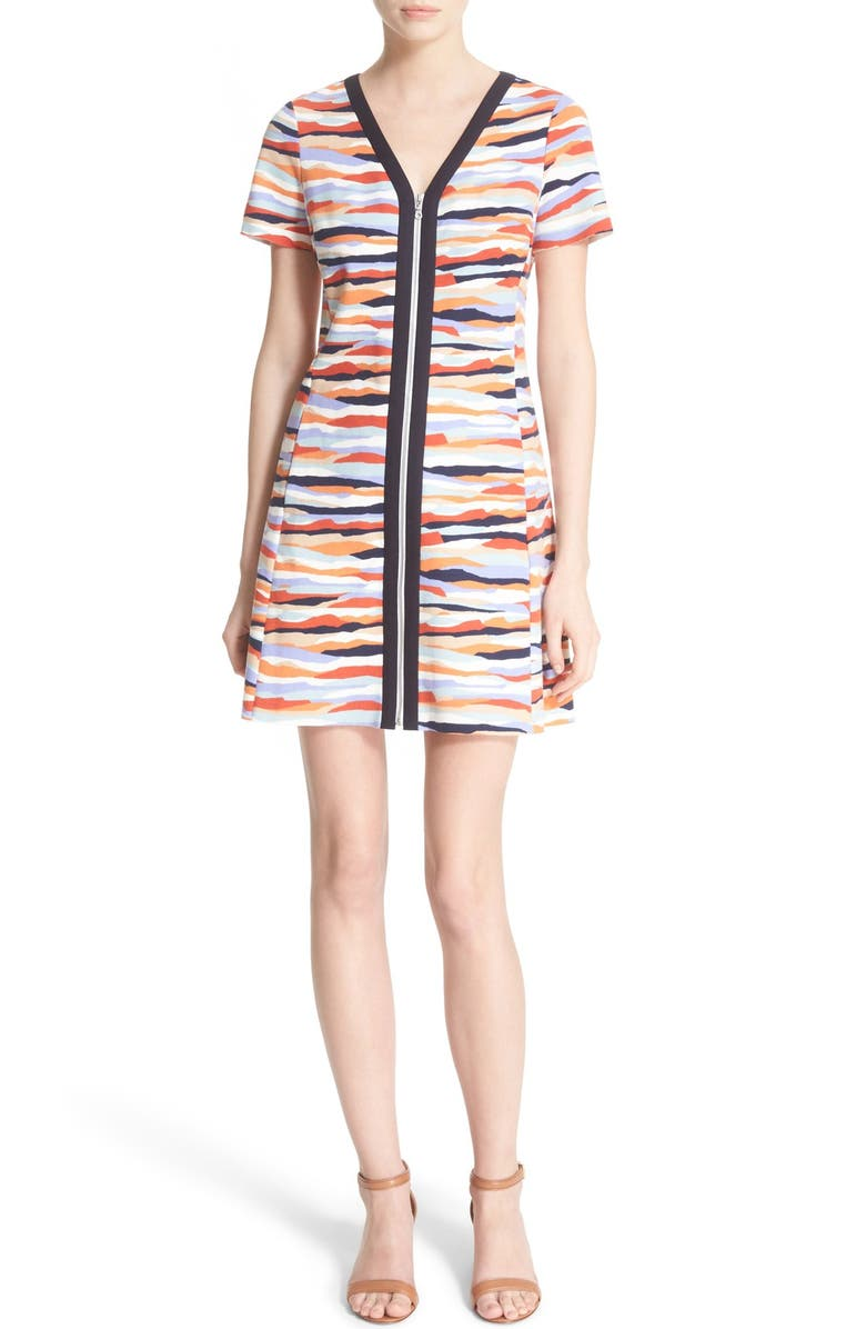 TORY BURCH 'Vienna' Print Jersey Zip Front Fit & Flare Dress, Main, color, 001