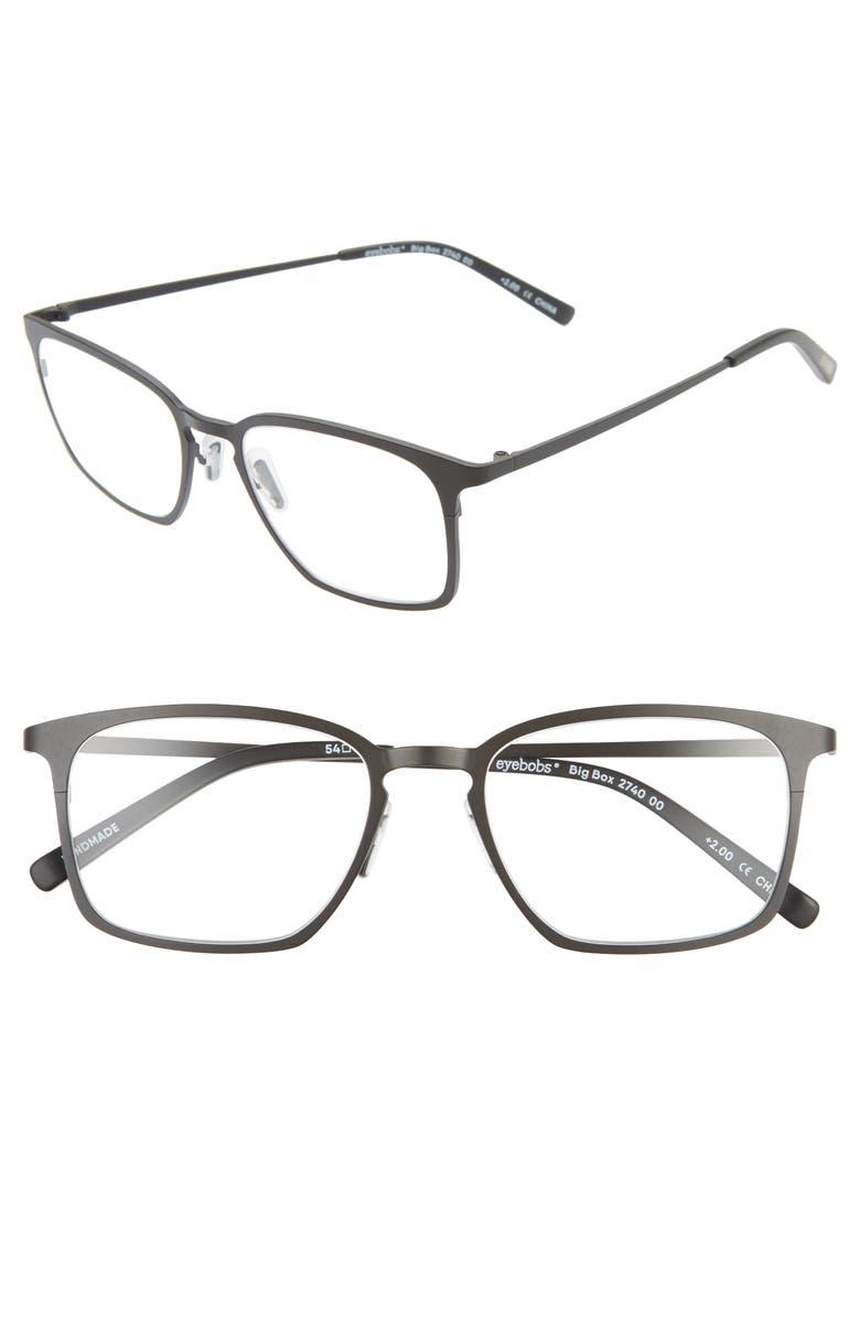 EYEBOBS Big Box 54mm Reading Glasses, Main, color, BLACK