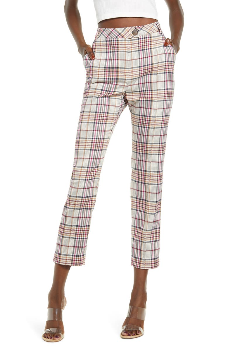 LEITH High Waist Straight Leg Ankle Pants, Main, color, IVORY ARLETTE COLORFUL PLD