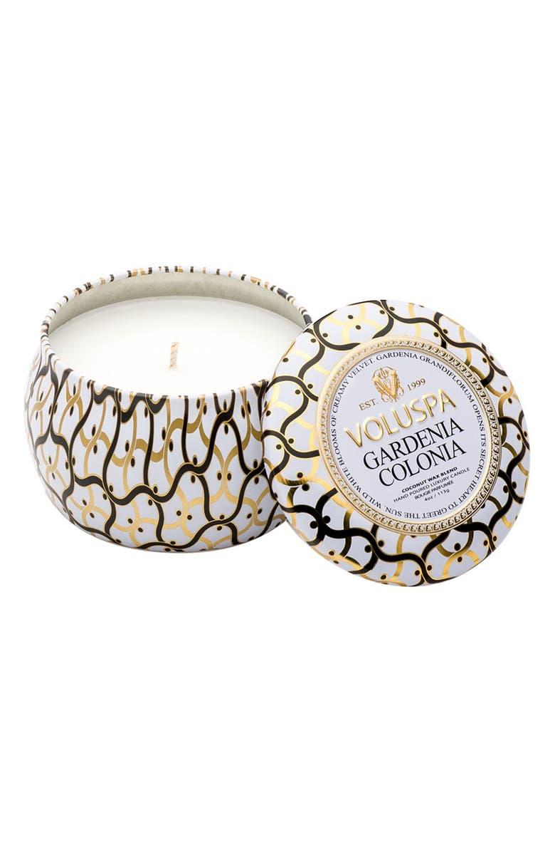VOLUSPA Maison Blanc Petite Decorative Tin Candle, Main, color, GARDENIA COLONIA