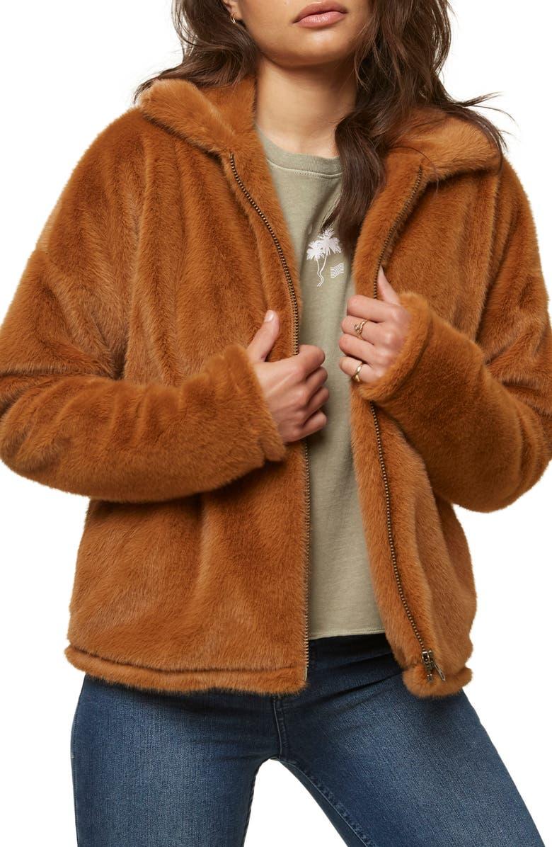 O'NEILL Merina Faux Fur Jacket, Main, color, CARAMEL