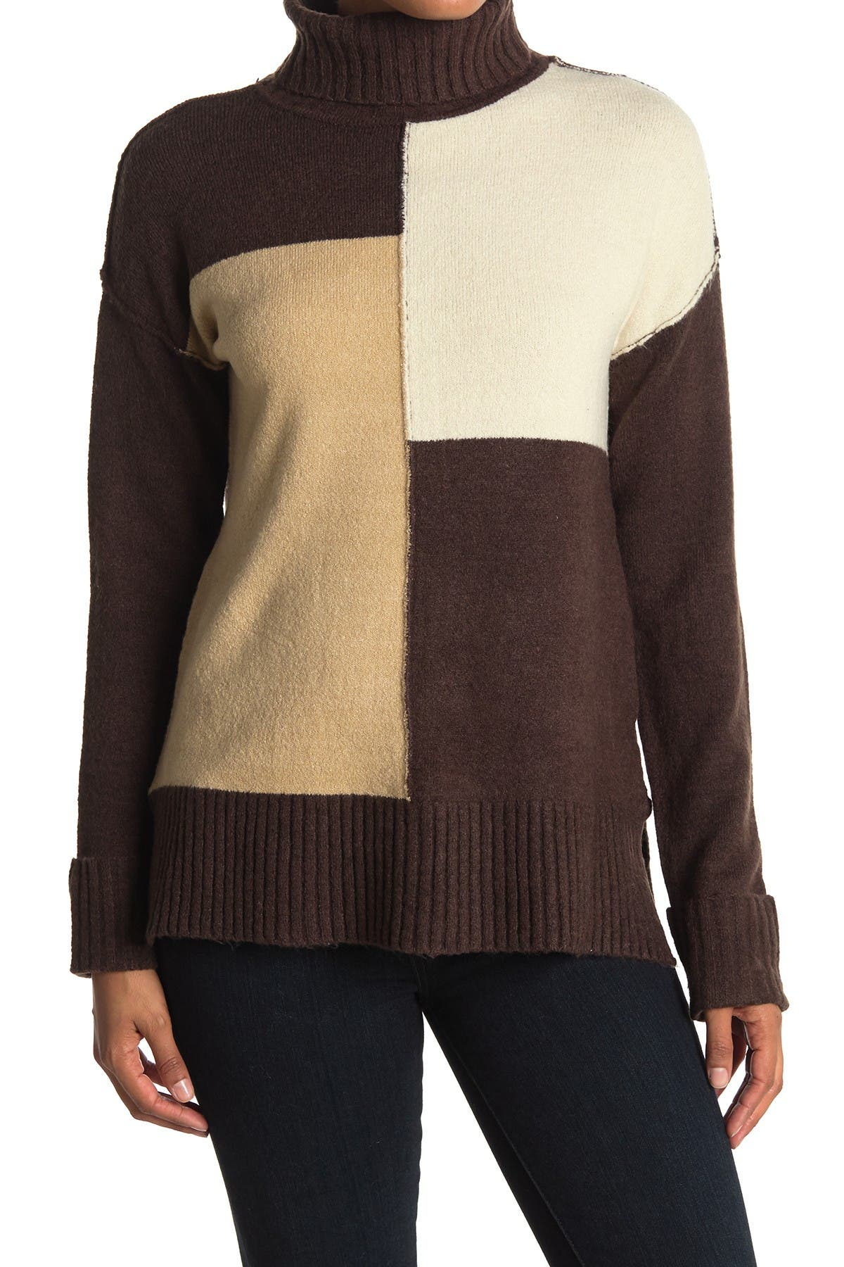 Image of Cyrus Colorblock Cowl Neck Sweater