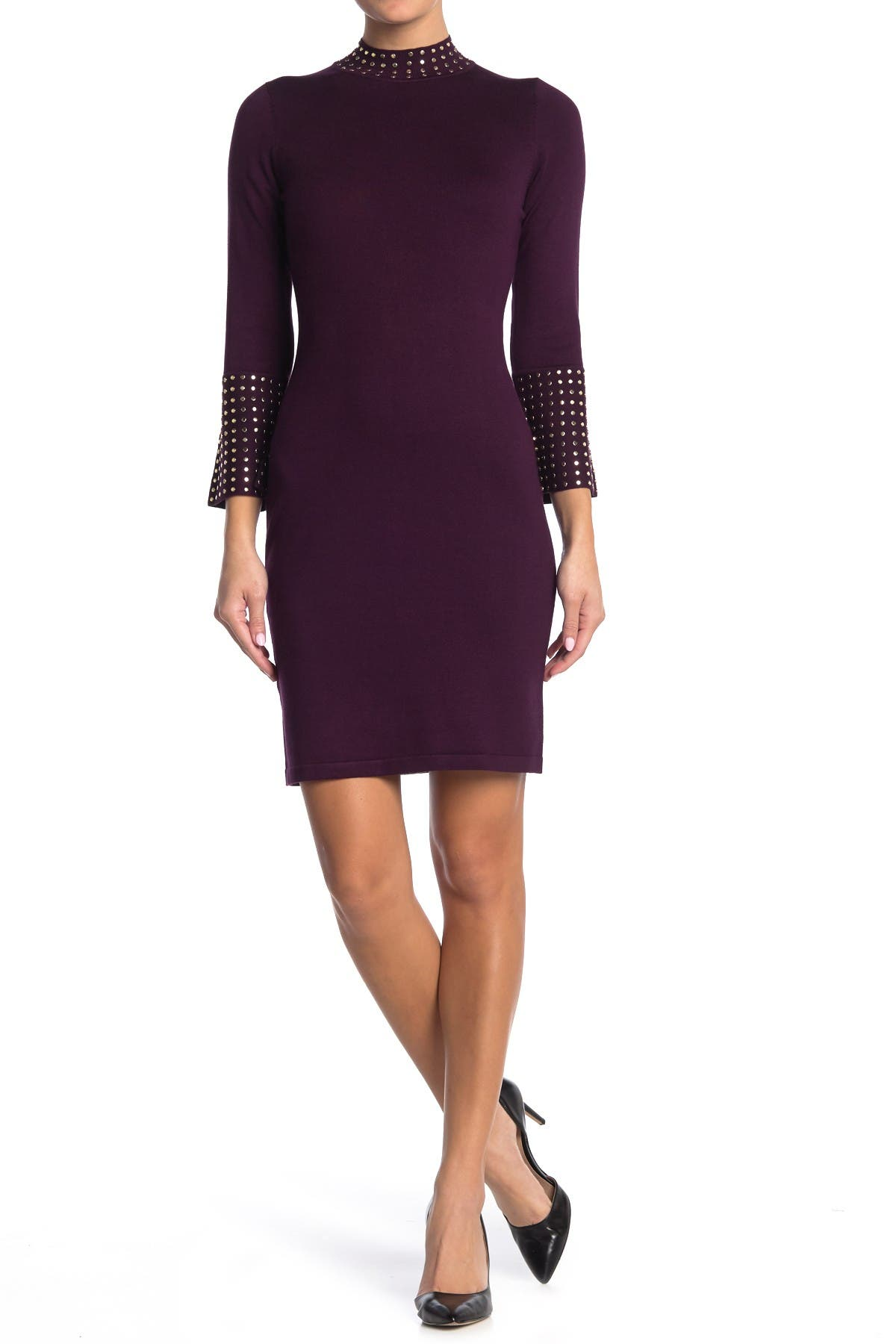 Image of Calvin Klein Mock Neck Bell Sleeve Sweater Dress