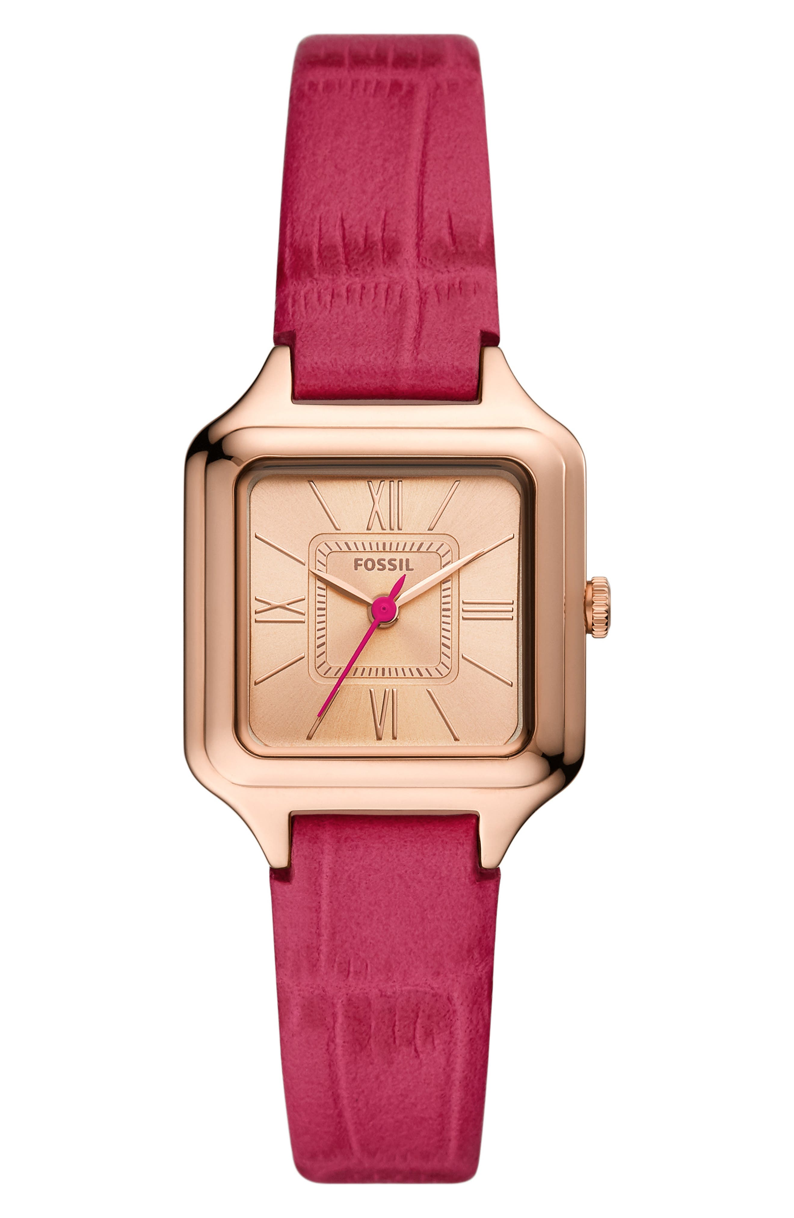 Raquel Square Leather Strap Watch