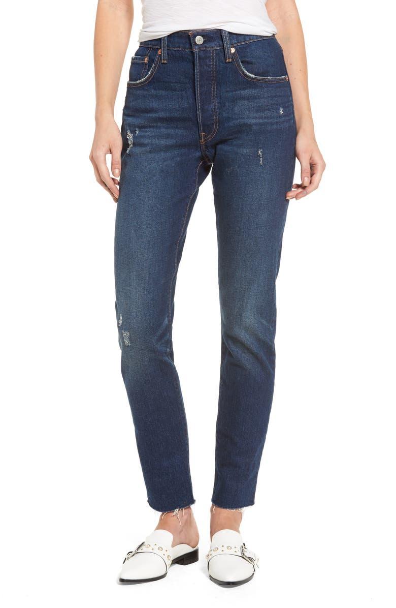 LEVI'S<SUP>®</SUP> Levis<sup>®</sup> 501 Raw Hem Skinny Jeans, Main, color, 401