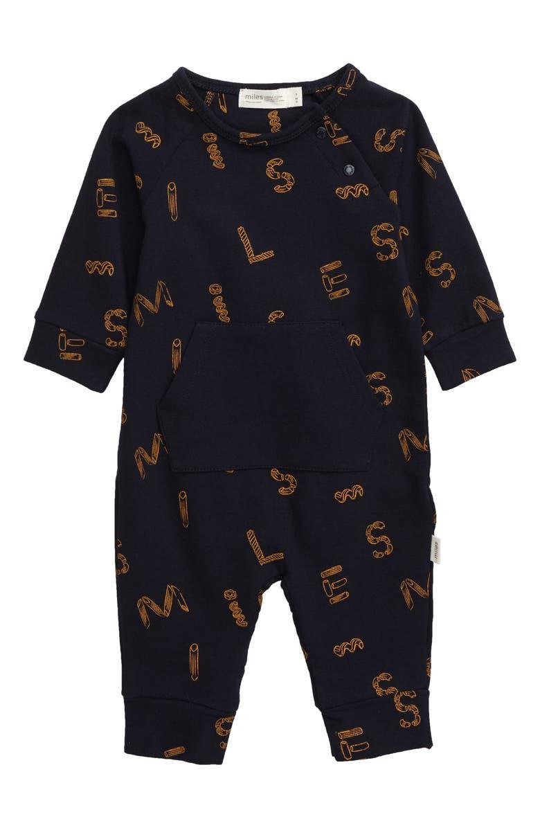 MILES BABY Alphabet Noodle Romper, Main, color, NAVY