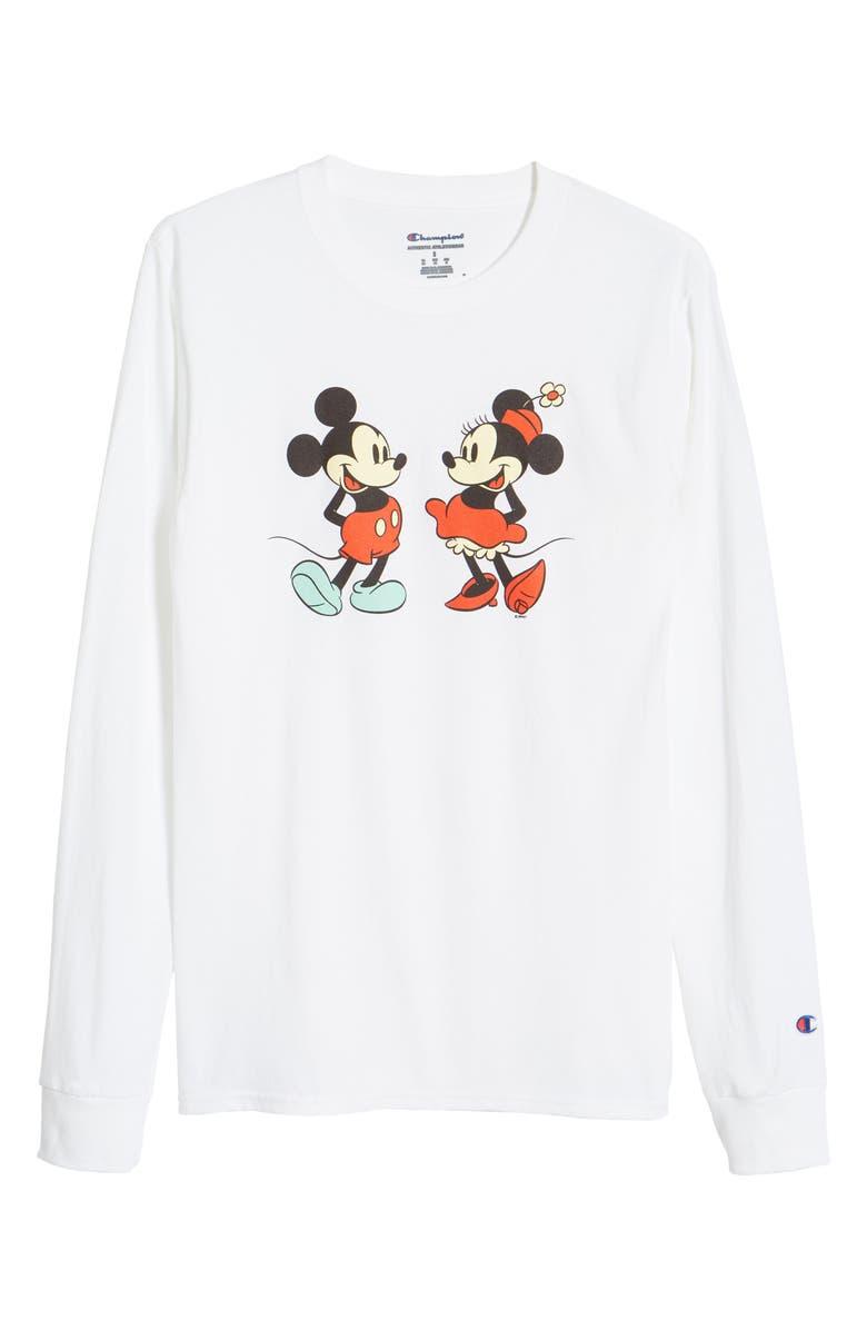 CHAMPION Disney x Champion Mickey & Minnie Long Sleeve Graphic Tee, Main, color, WHITE