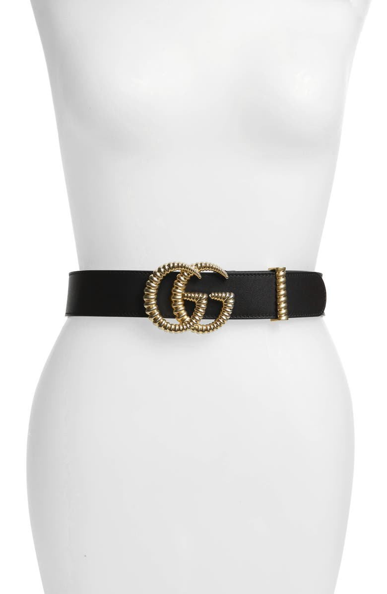 GUCCI Textured GG Logo Leather Belt, Main, color, NERO