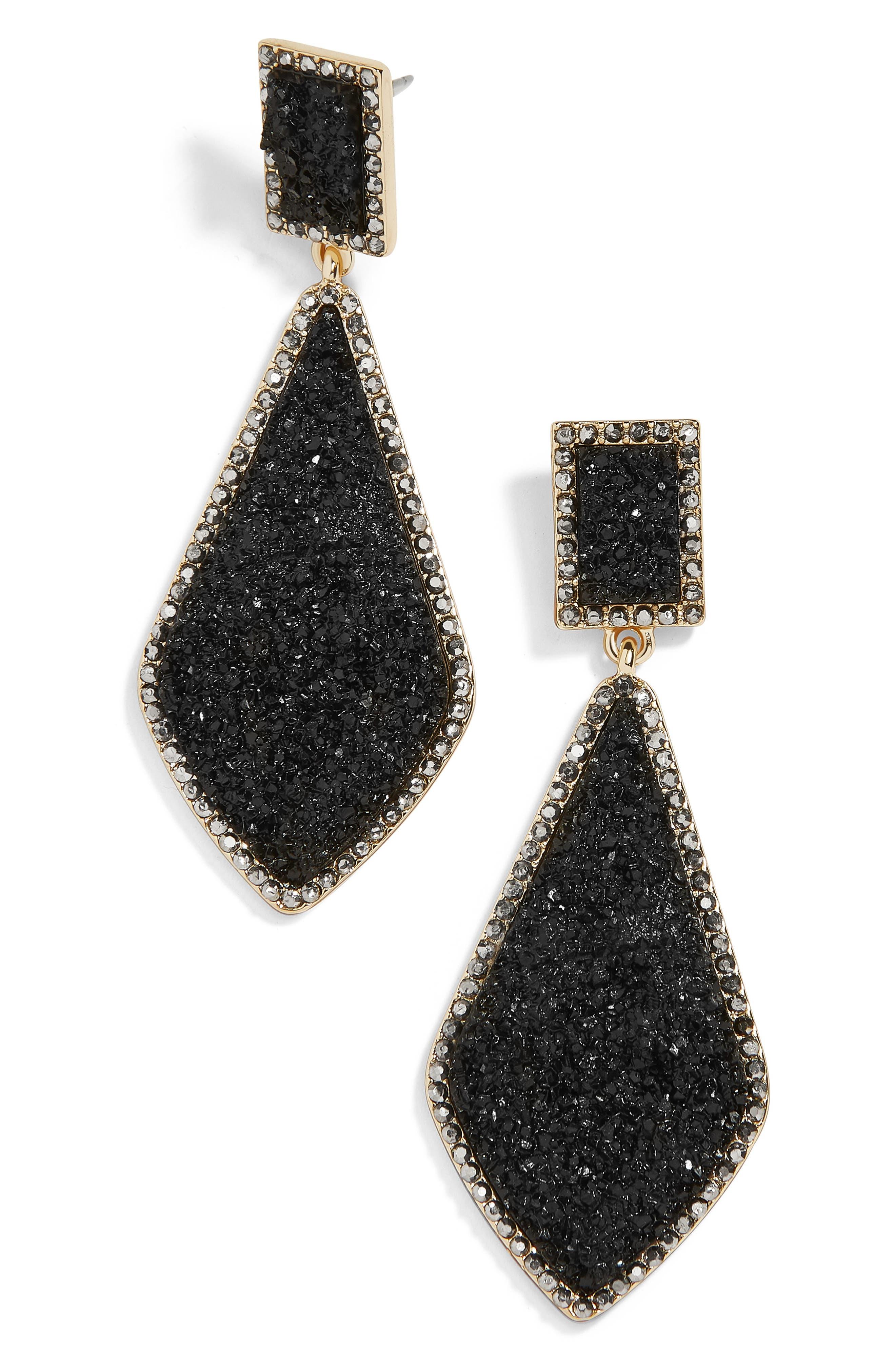 Twilight Drop Earrings, Main, color, BLACK