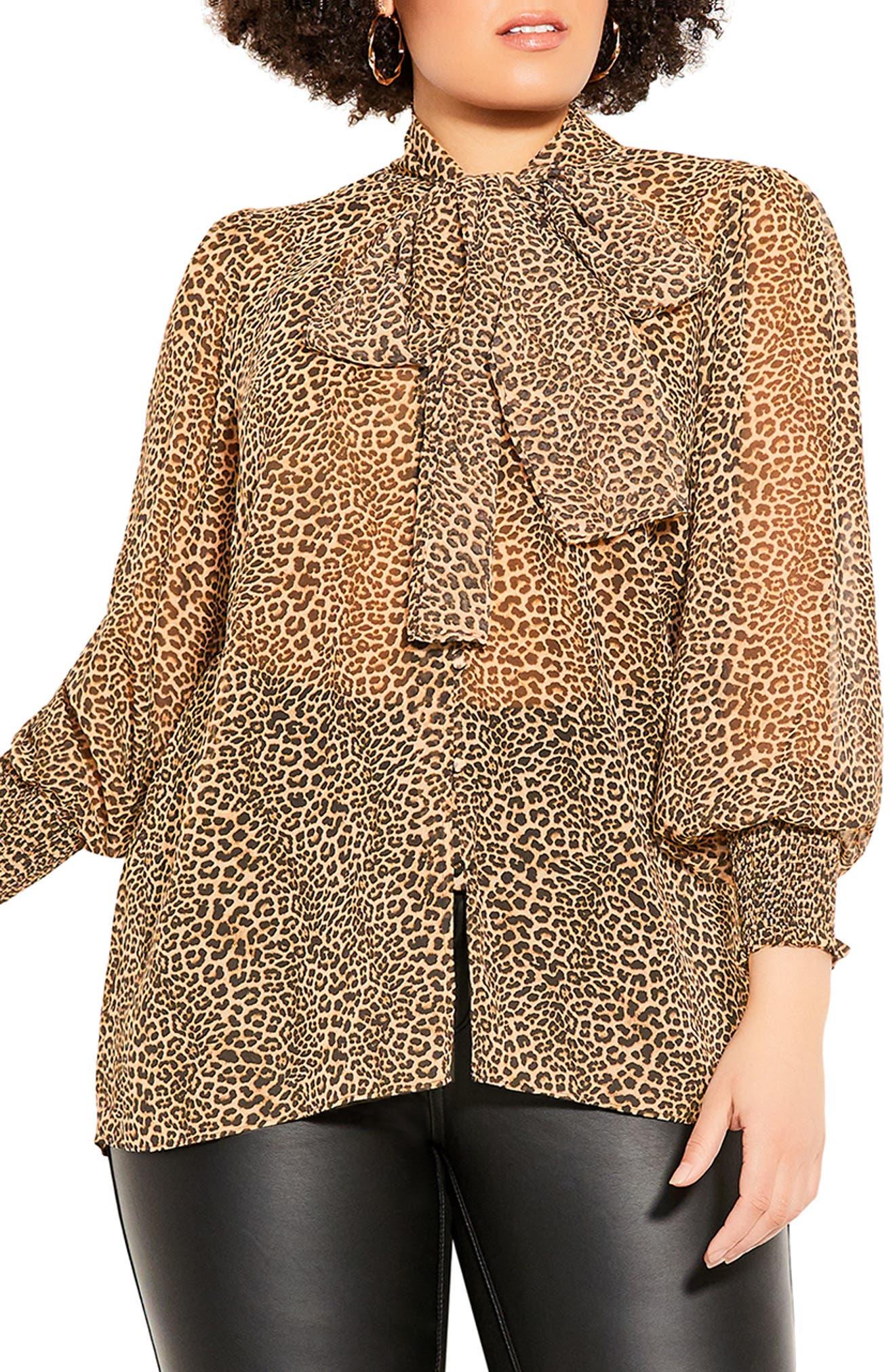Luxe Leopard Tie Neck Top