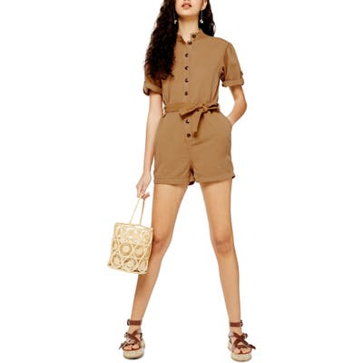 Topshop Gathered Yoke Cotton Blend Utility Romper, US (fits like 0-2) - Brown