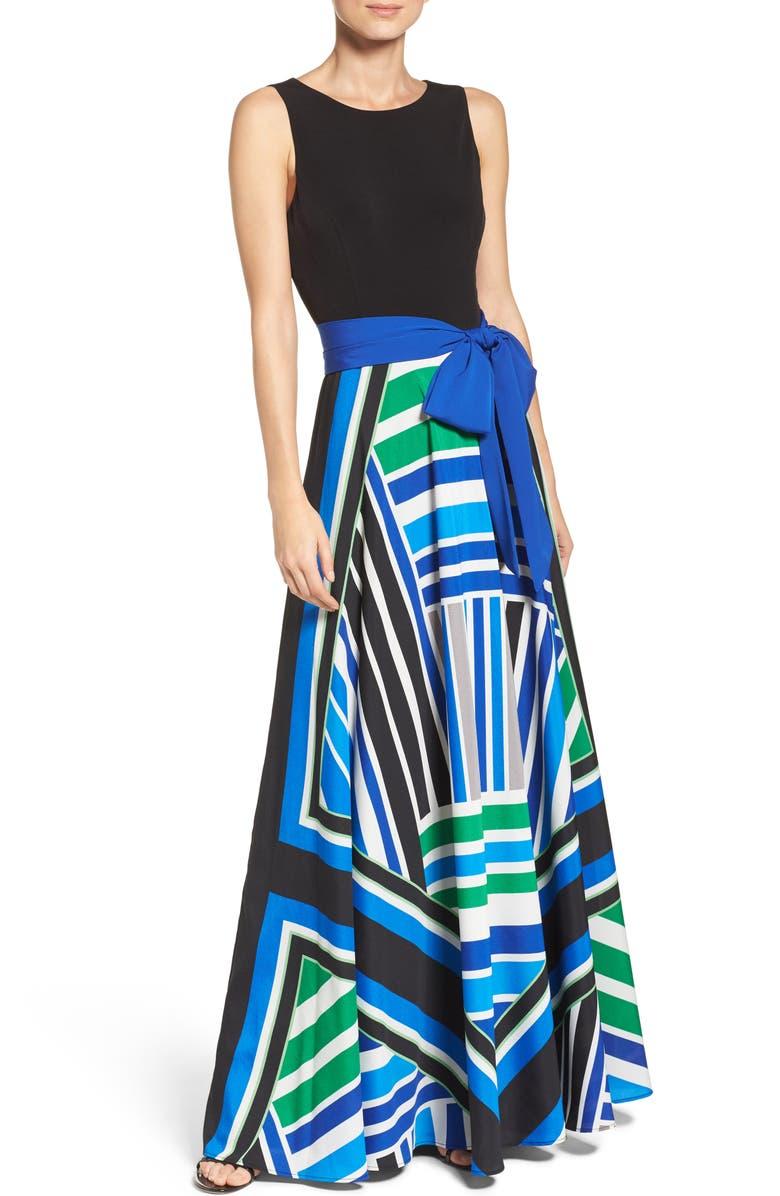 ELIZA J Scarf Print Jersey & Crêpe de Chine Maxi Dress, Main, color, 474
