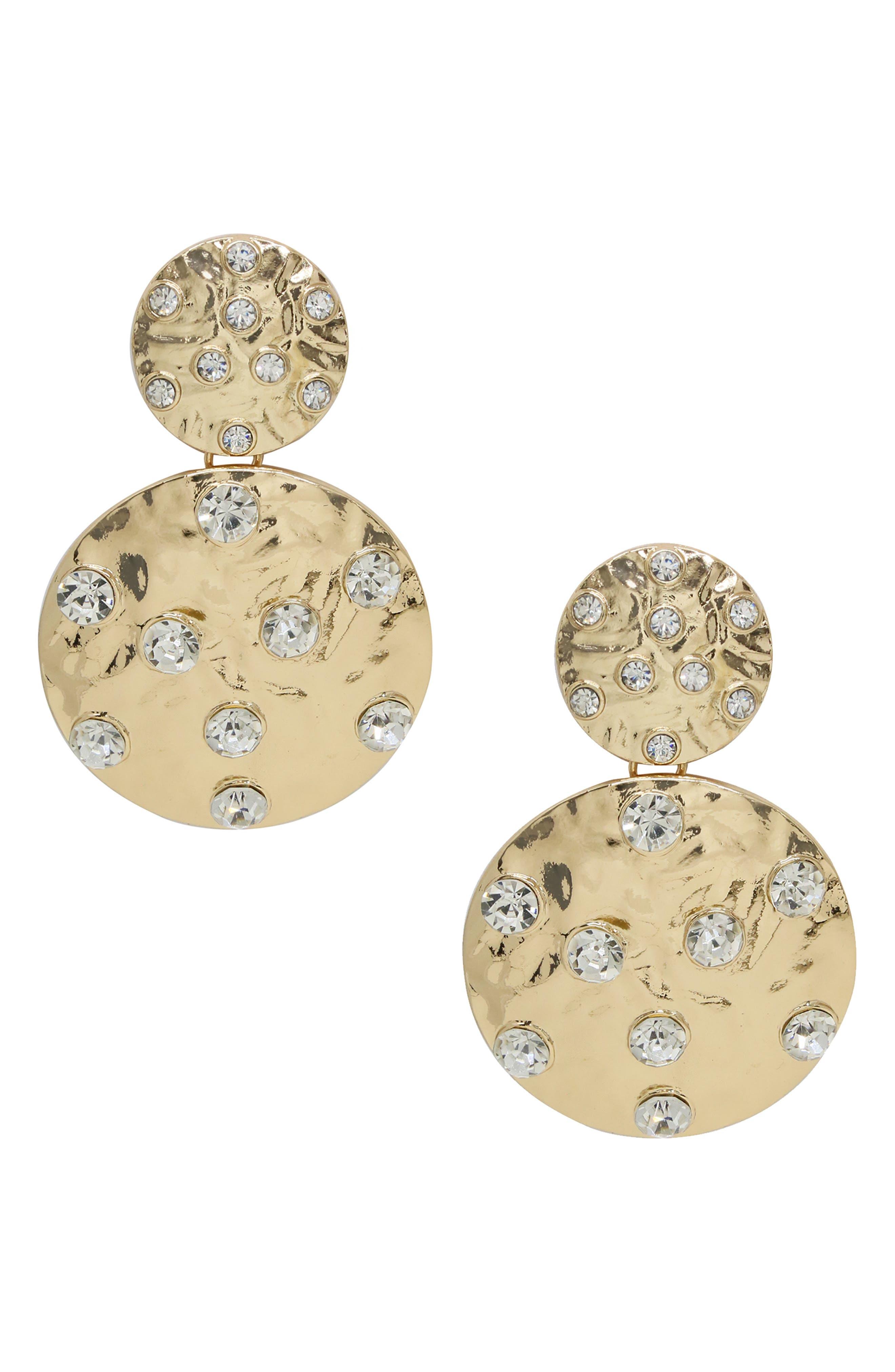 Double Crystal Coin Earrings
